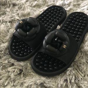 New Chanel Camellia Flower Black Slides Size 38